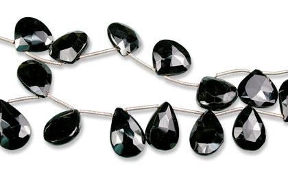 Design 13804: black black spinel faceted beads