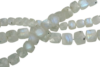 Design 13840: blue,white moonstone faceted, square beads