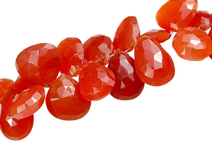 Design 13931: orange carnelian briolettes, faceted beads