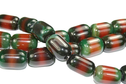 Design 16098: black,green,orange bulk lots tube beads