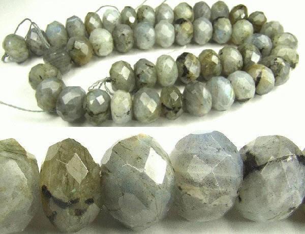 Design 5629: Light Gray labradorite faceted beads
