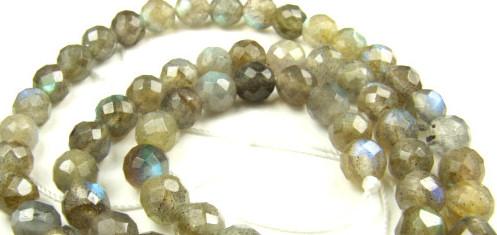 Design 5661: Light Gray labradorite faceted beads