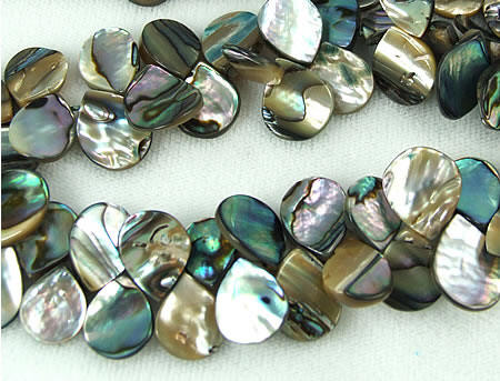 Design 5773: black,gray,multi-color abalone tear-drop beads