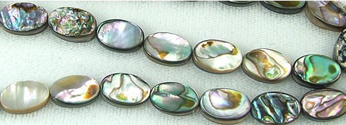 Design 5778: Peacock abalone oval beads