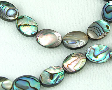 Design 5779: Peacock abalone oval beads