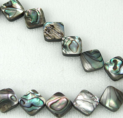 Design 5782: Peacock abalone square beads