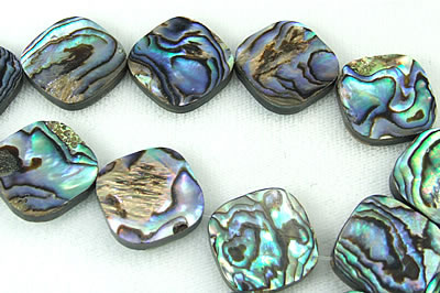 Design 5783: Peacock abalone square beads