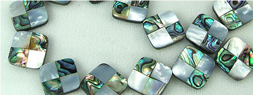 Design 5785: Peacock abalone square beads