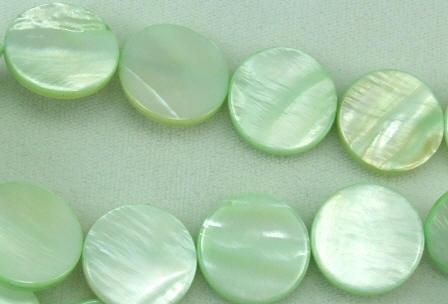 Design 5809: Green shell coin beads