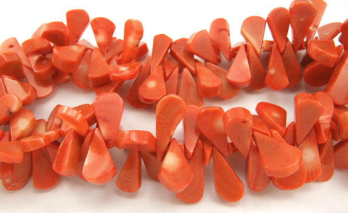 Design 5845: Red coral tear-drop beads