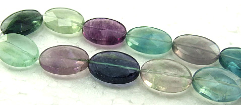 Design 5939: Green,Blue,Gray,Purple fluorite faceted, oval beads