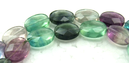 Design 5940: Green,Blue,Gray,Purple fluorite faceted, oval beads