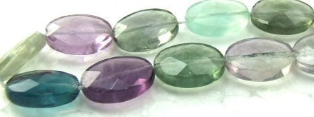 Design 5941: Green,Blue,Gray,Purple fluorite faceted, oval beads