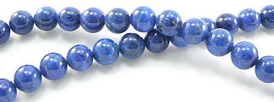 Design 5965: Blue lapis lazuli round beads