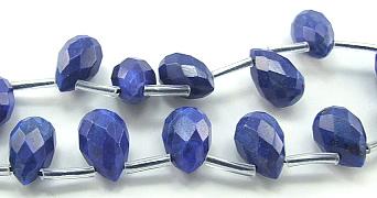 Design 5967: Blue lapis lazuli faceted, tear-drop beads
