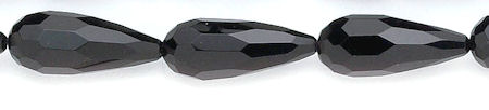 Design 6081: black black onyx faceted, tear-drop beads