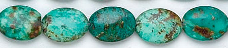 Design 6166: blue, green, brown turquoise oval beads