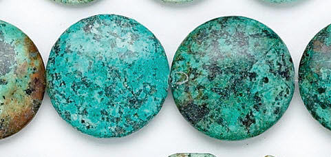 Design 6178: blue, green, brown turquoise coin beads