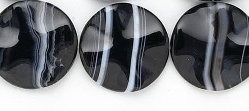 Design 6293: black, white banded onyx coin beads