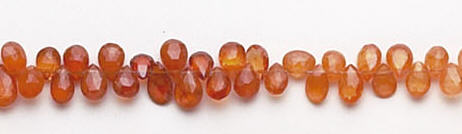 Design 6581: orange garnet briolettes, tear-drop beads