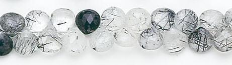 Design 6601: white, black tourmalated quartz briolettes beads