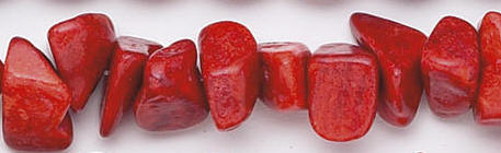 Design 6637: red sponge coral chips beads