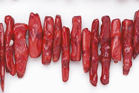 Design 6638: red sponge coral beads