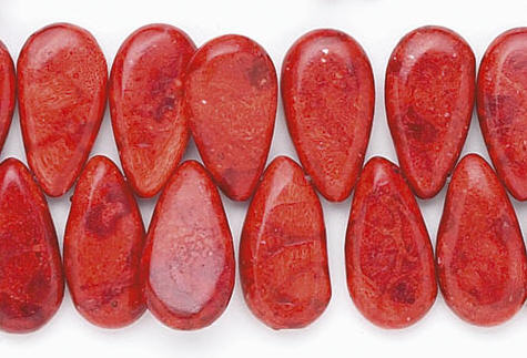 Design 6639: red sponge coral beads