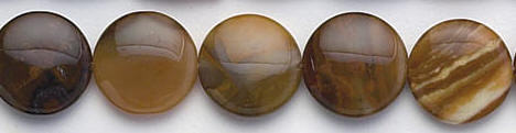 Design 6668: brown, white agate coin beads