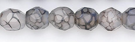Design 6676: black, white agate faceted beads