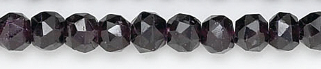 Design 6706: red garnet faceted, round beads
