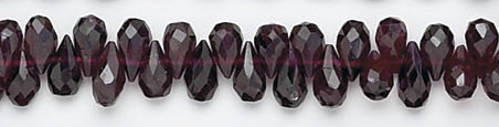Design 6709: red garnet briolettes beads