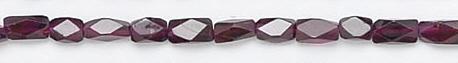 Design 6712: red garnet faceted, tube beads