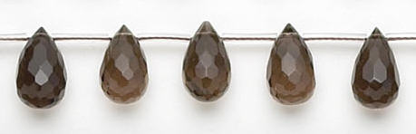 Design 6722: brown, gray smoky quartz faceted, tear-drop beads