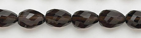 Design 6727: brown, gray smoky quartz faceted, tear-drop beads