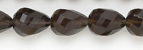 Design 6728: brown, gray smoky quartz faceted, tear-drop beads