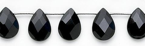 Design 6749: black black onyx faceted, tear-drop beads