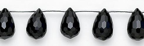 Design 6752: black black onyx faceted, tear-drop beads