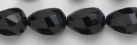 Design 6758: black black onyx faceted, tear-drop beads