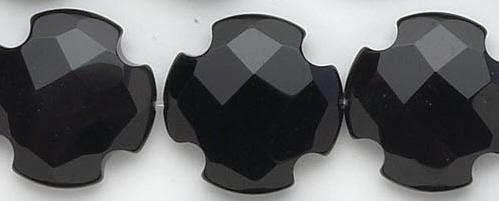 Design 6761: black black onyx faceted, square beads