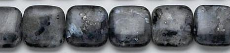 Design 6770: black, multi labradorite coin, square beads