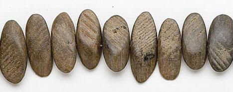 Design 6847: brown, gray bone careved beads