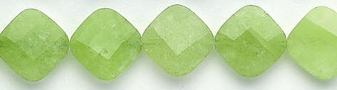 Design 6953: green jade faceted, square beads
