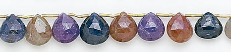 Design 7039: multi sapphire briolettes, tear-drop beads