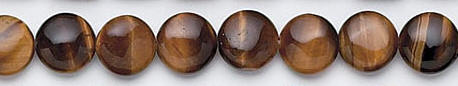 Design 7085: brown tiger eye coin beads