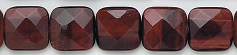 Design 7087: red tiger eye faceted, square beads