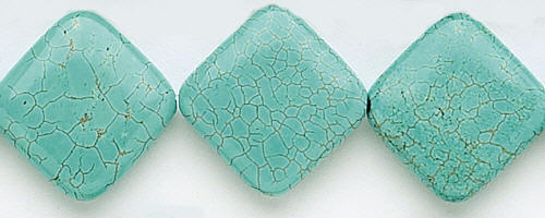 Design 7634: blue, green magnesite square beads