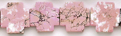 Design 8209: pink, white magnesite square beads