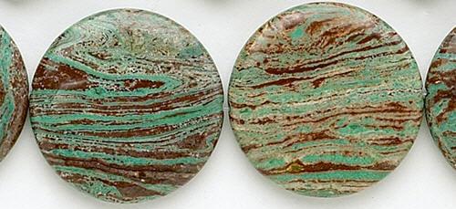 Design 8221: green, brown jasper coin beads