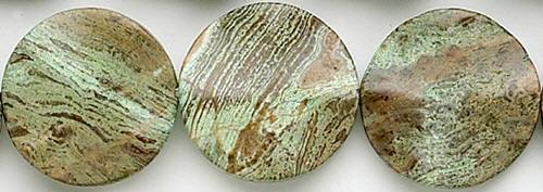 Design 8223: green, brown jasper coin beads